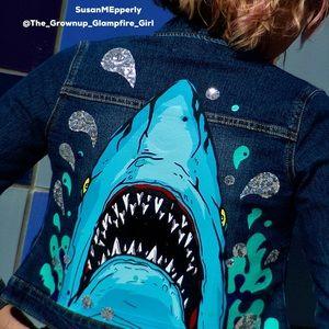 Jackets & Coats - 🦈SOLD🦈 JAWSome Hand Crafted Upcycled  Jacket